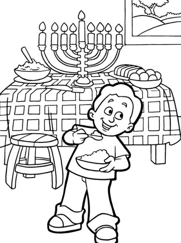 Chanukah, : Boy Eating at Chanukah Day Coloring Page