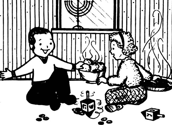 Chanukah, : Boy and Girl Celebrating Chanukah Together Coloring Page