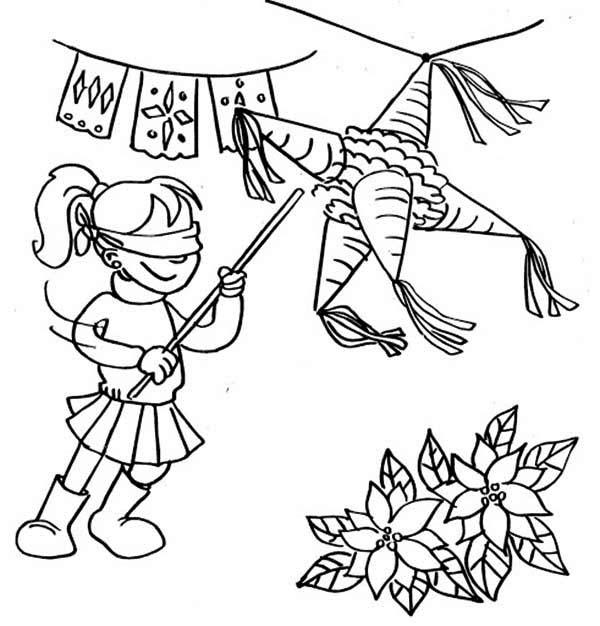 Pinata, : Breaking Cone Pinata Coloring Page
