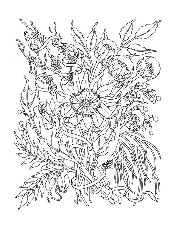 California Poppy, : California Poppy for Flower Arrangement Coloring Page