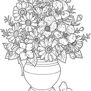 Flower In Vase Coloring Pages Coloring Pages