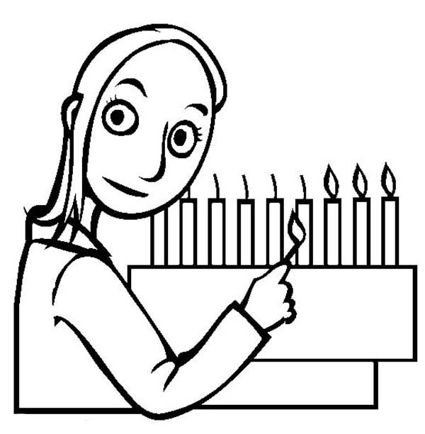Menorah, : Candle Lighting in Menorah Coloring Page