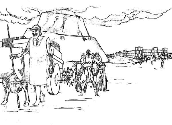 Tower of Babel, : Carrying Brick with Cart in Tower of Babel Coloring Page