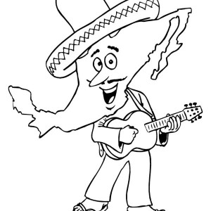 cartoon of mariachi at mexican fiesta coloring page