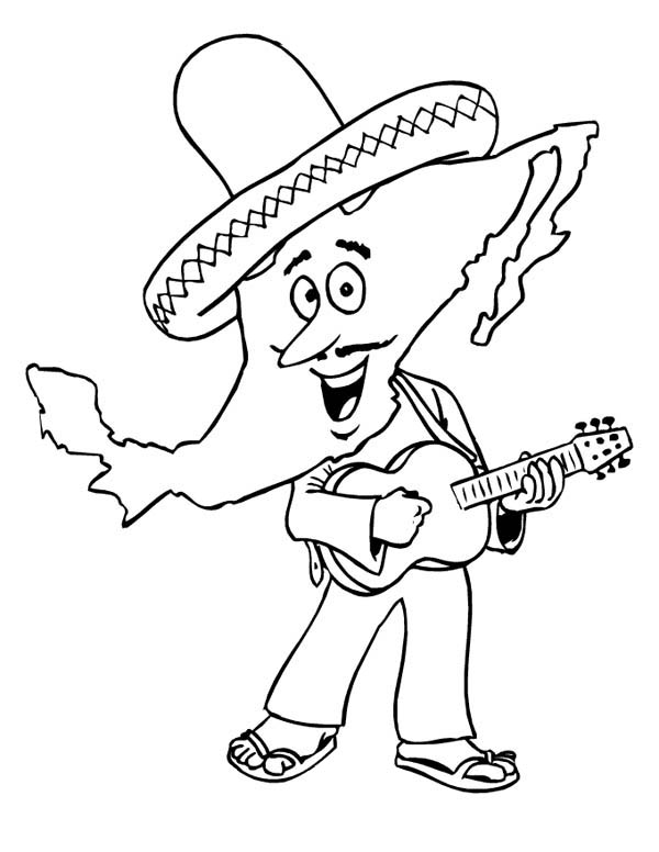 Mexican Fiesta, : Cartoon of Mariachi at Mexican Fiesta Coloring Page