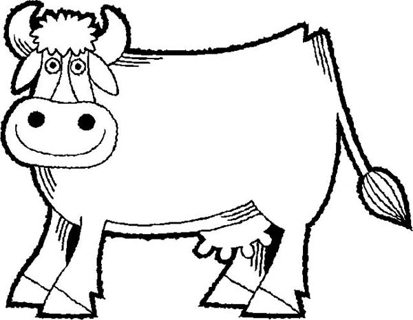 Cow, : Cartoon of Smiling Cow Coloring Page