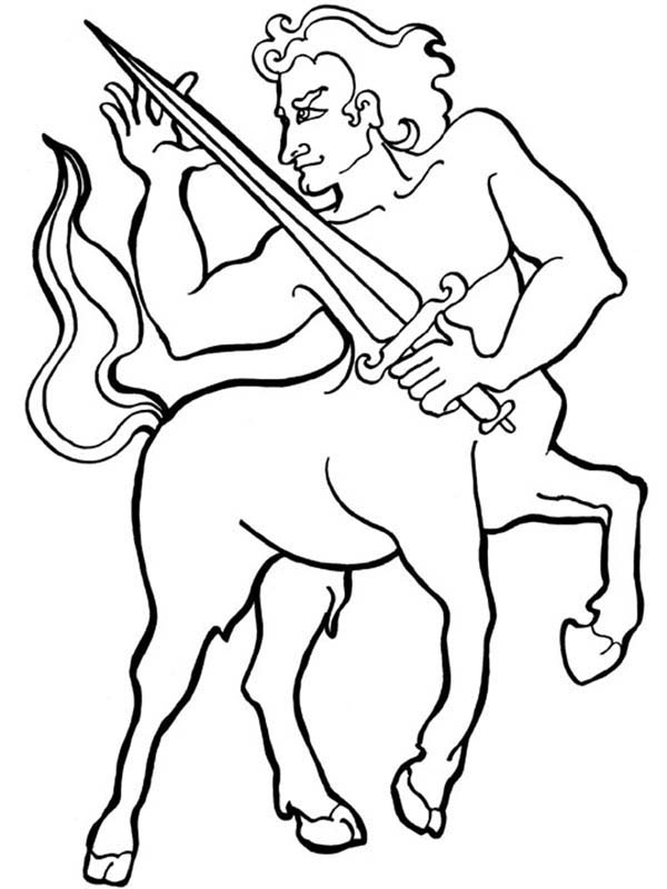 Centaur, : Centaur Knight with Sharp Sword Coloring Page