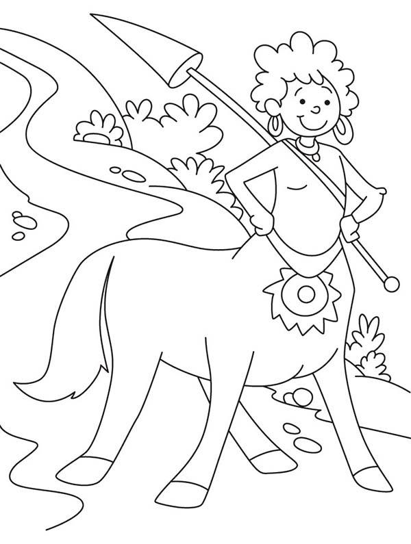 Centaur, : Centaur Ladu Guarding the Road Coloring Page