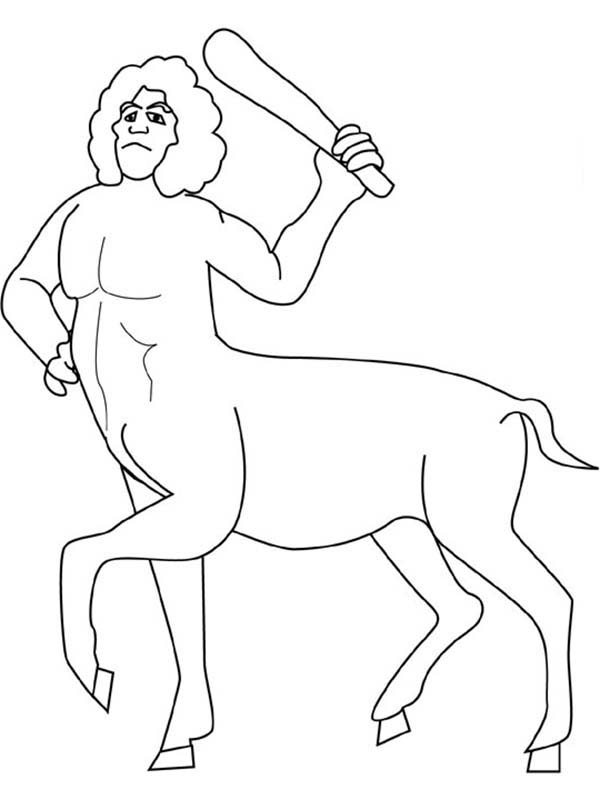 Centaur, : Centaur Swing His Club Coloring Page