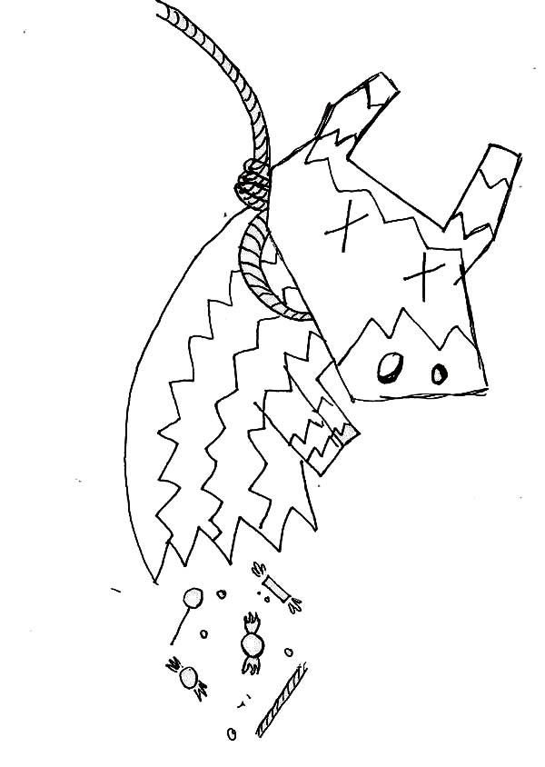 Pinata, : Chinese Cow Pinata Coloring Page