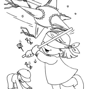 collecting candy from pinata coloring page