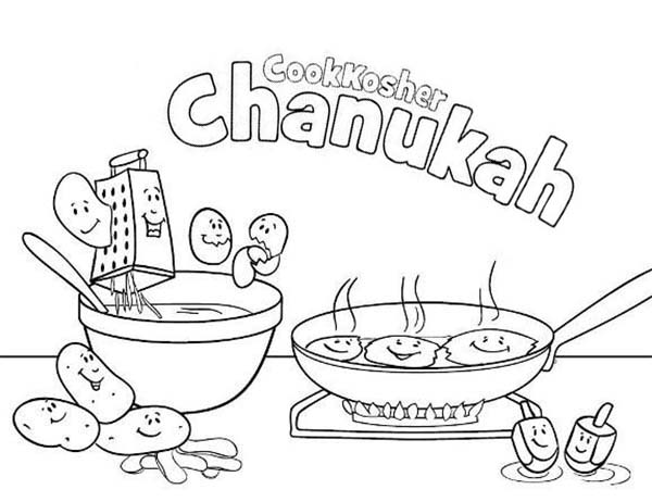 Chanukah, : Cookkosher Chanukah Coloring Page