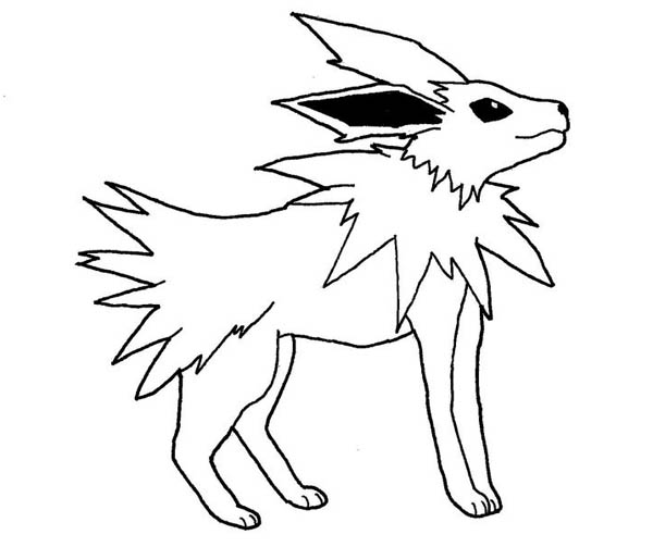 Jolteon, : Cool Jolteon Transformation Coloring Page