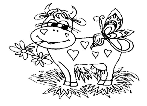 Cow, : Cow Eating Flower with Butterfly Coloring Page