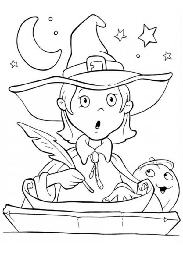 Funschool Halloween, : Cute Little Witch is Surprised in Funschool Halloween Coloring Page