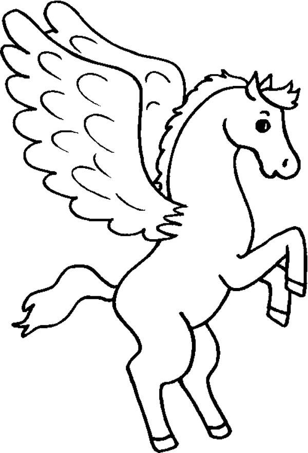 Pegasus, : Cute Pegasus Coloring Page