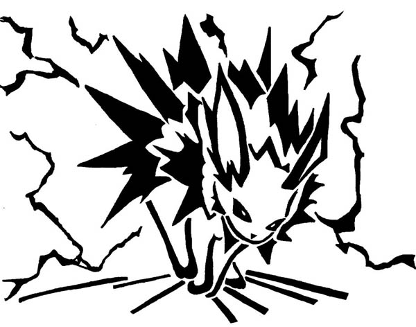 Jolteon, : Dark Jolteon Coloring Page