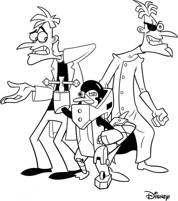 Phineas and Ferb, : Dr Doofenshmirtz and his Creation in Phineas and Ferb Coloring Page