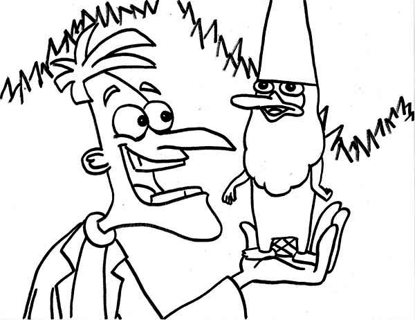 Phineas and Ferb, : Dr Doofenshmirtz with Agent P Undercover as Gnome in in Phineas and Ferb Coloring Page