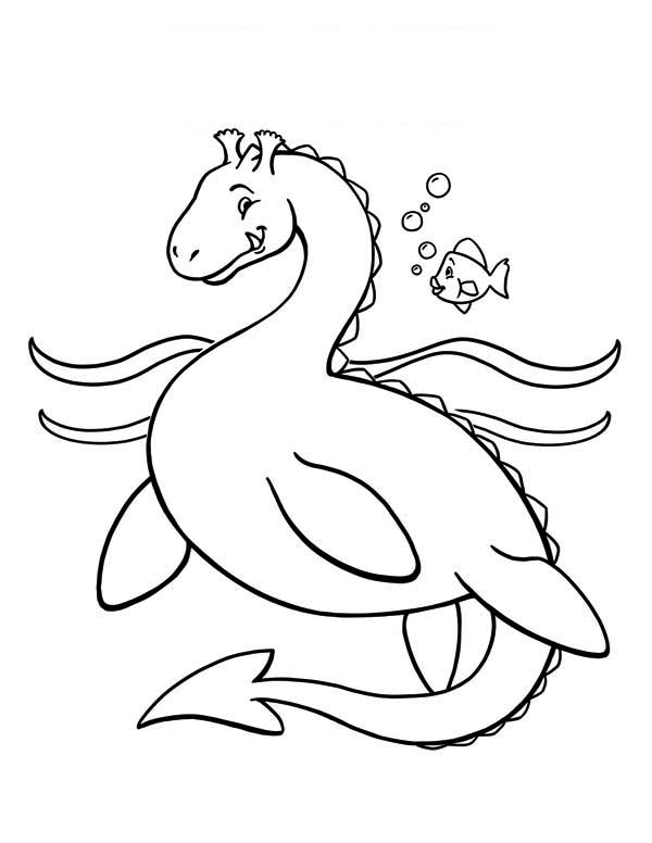 Sea Monster, : Dragon Sea Monster Coloring Page