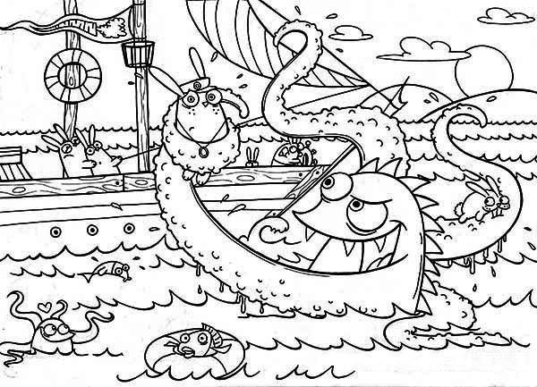 Sea Monster, : Drawing Kraken the Sea Monster Coloring Page