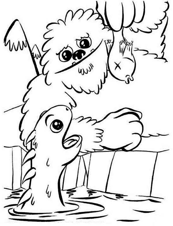 Sea Monster, : Feeding Dragon Little Sea Monster Coloring Page