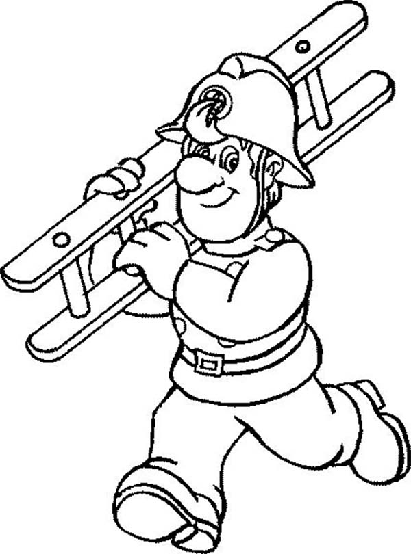 Fireman, : Fireman Carrying Stair Coloring Page