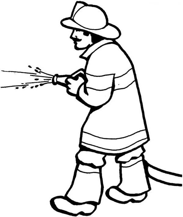 Fireman, : Fireman Spraying Water Coloring Page