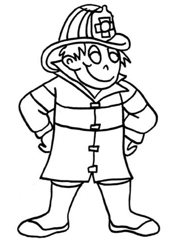 Fireman, : Fireman Standing Ready Coloring Page