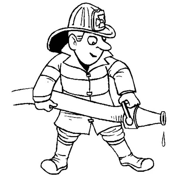 Fireman, : Fireman Success Extinguishing Fire Coloring Page