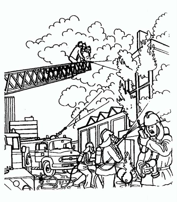 Fireman, : Fireman Try to Extinguish Fire on Burning Building Coloring Page