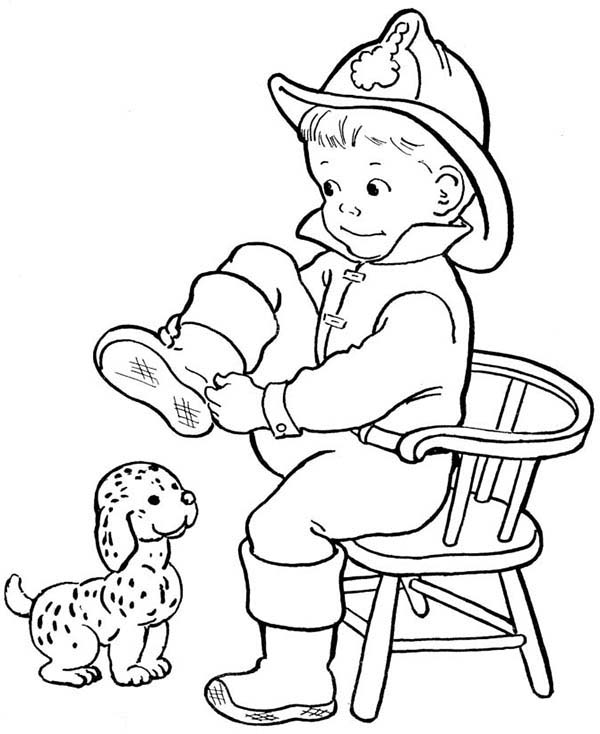 Fireman, : Fireman and His Dalmatian Dog Coloring Page