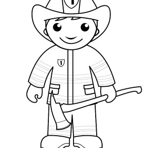 fireman running with water hose coloring page fireman running