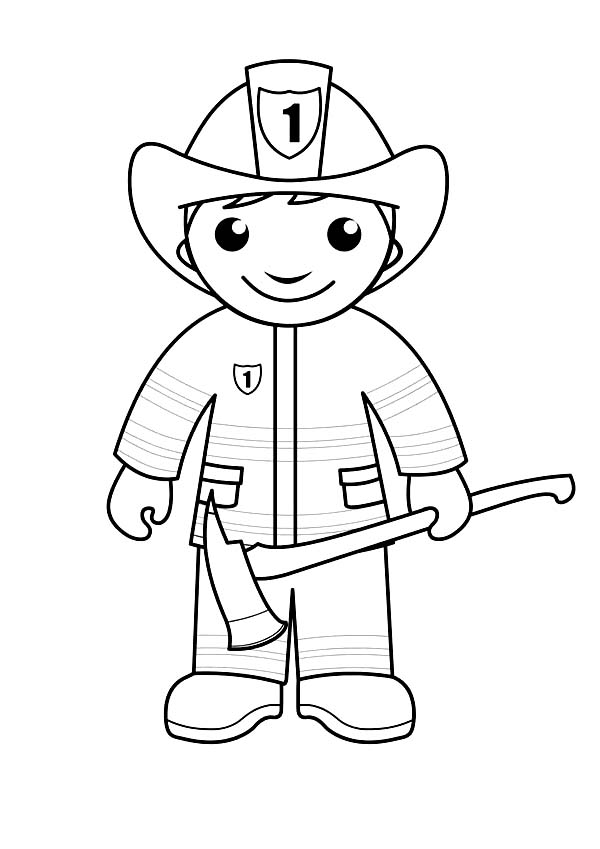 Fireman, : Fireman is Ready with an Axe Coloring Page