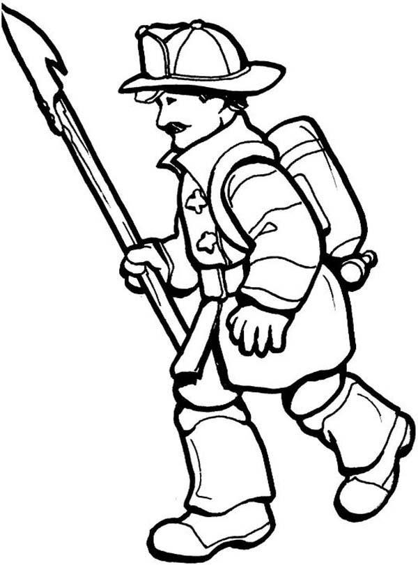 Fireman, : Fireman wirh Pike Pole Coloring Page