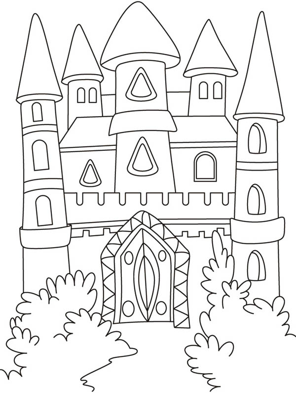 Coloring Pages Castles Knights Front Yard Of Medieval Castle Page Kids Play Color