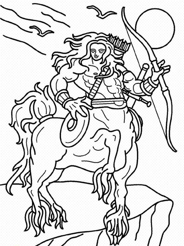 Centaur, : Full Armored Centaur Coloring Page
