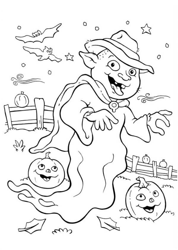 Funschool Halloween, : Funschool Halloween Coloring Page