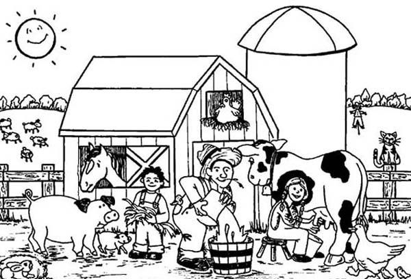 Farm Animal, : Giving the Animal Drink on Farm Animal Coloring Page