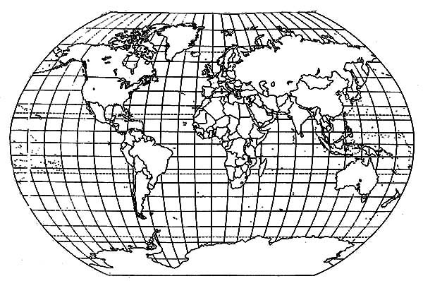 World Map, : Globe World Map Coloring Page