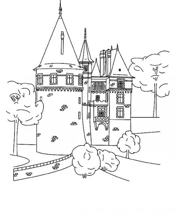 Medieval Castle, : Grand Medieval Castle Coloring Page