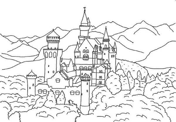 Medieval Castle, : Great Medieval Castle Coloring Page