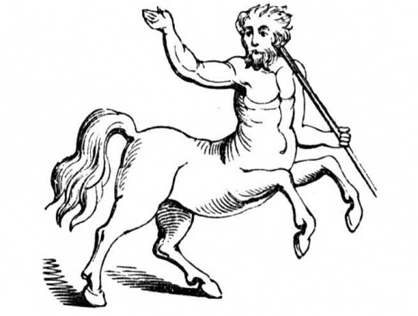 Centaur, : Greek Myth God Centaur Coloring Page