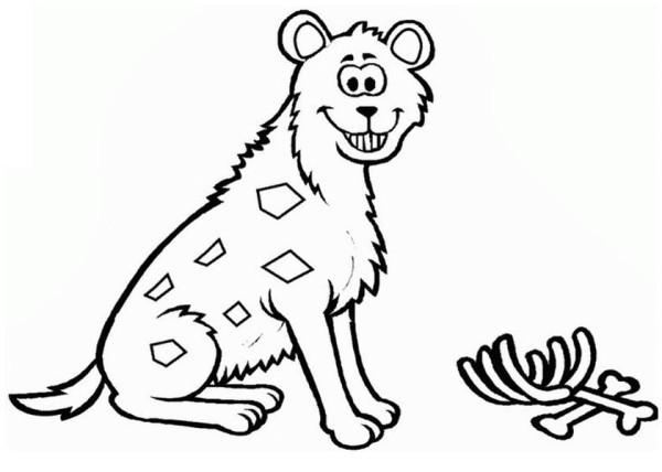 Hyena, : Grinning Hyena Coloring Page