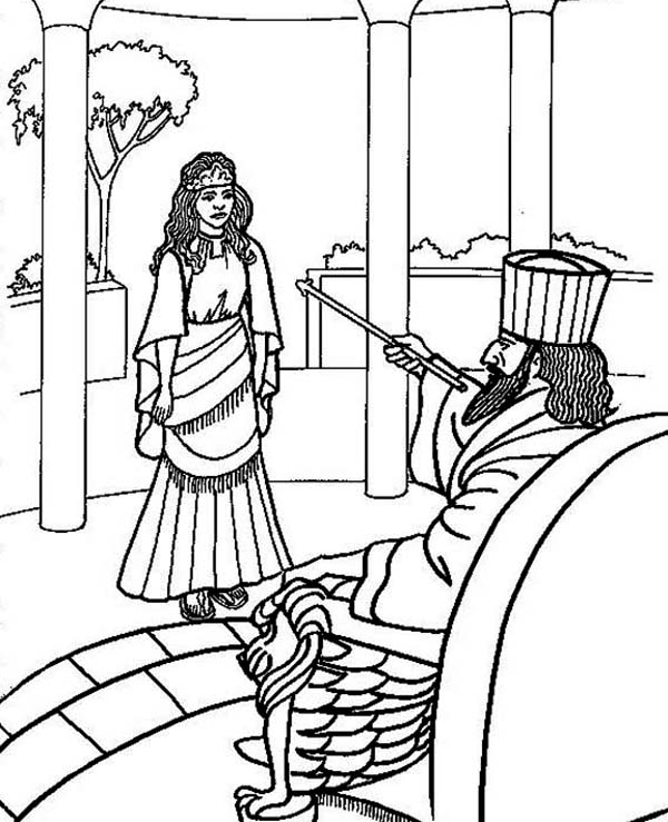 Queen Esther, : Hadassah is Choseen to be Queen Esther Coloring Page