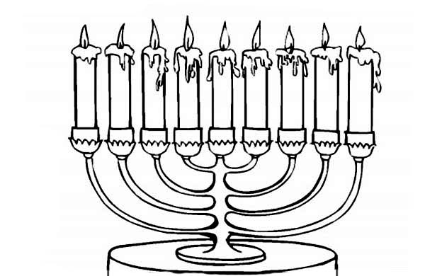 Menorah With Seven Candles Coloring Page Hanukkah Coloring
