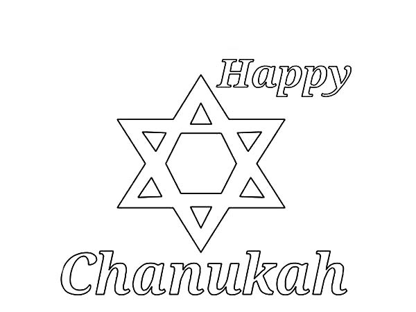 Chanukah, : Happy Chanukah Coloring Page