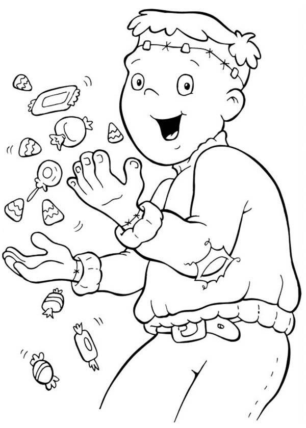 Funschool Halloween, : Happy Frankenstein in Funschool Halloween Coloring Page