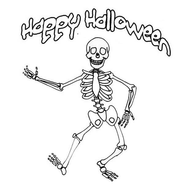 Skeleton, : Happy Halloween Mr Skeleton Coloring Page
