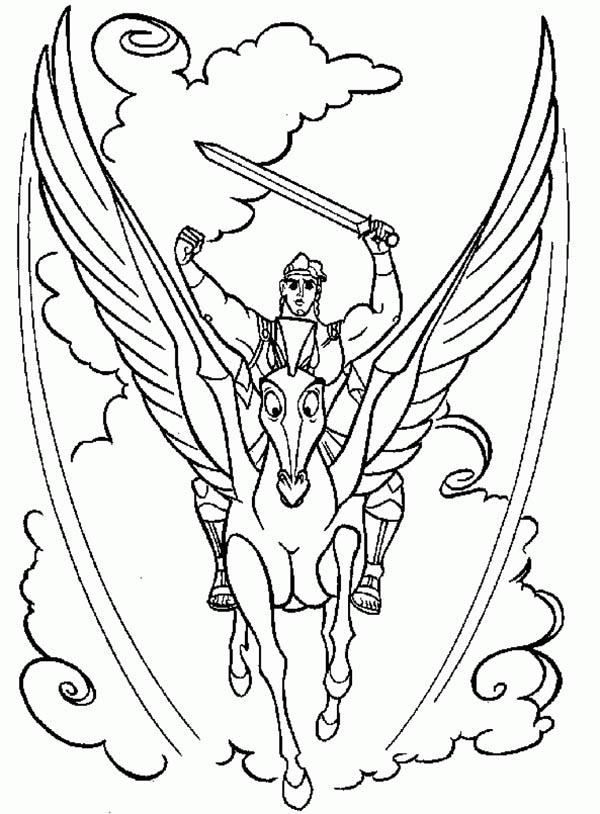Pegasus, : Hercules Riding Pegasus Coloring Page